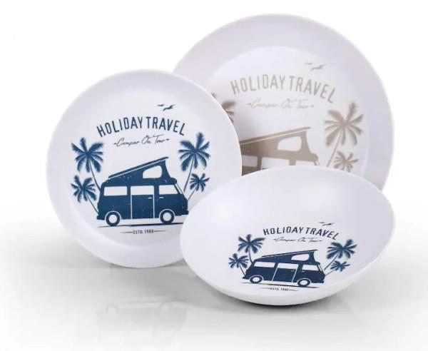 Melamin Geschirr Set 6-teilig für 2 Personen - Holiday Travel